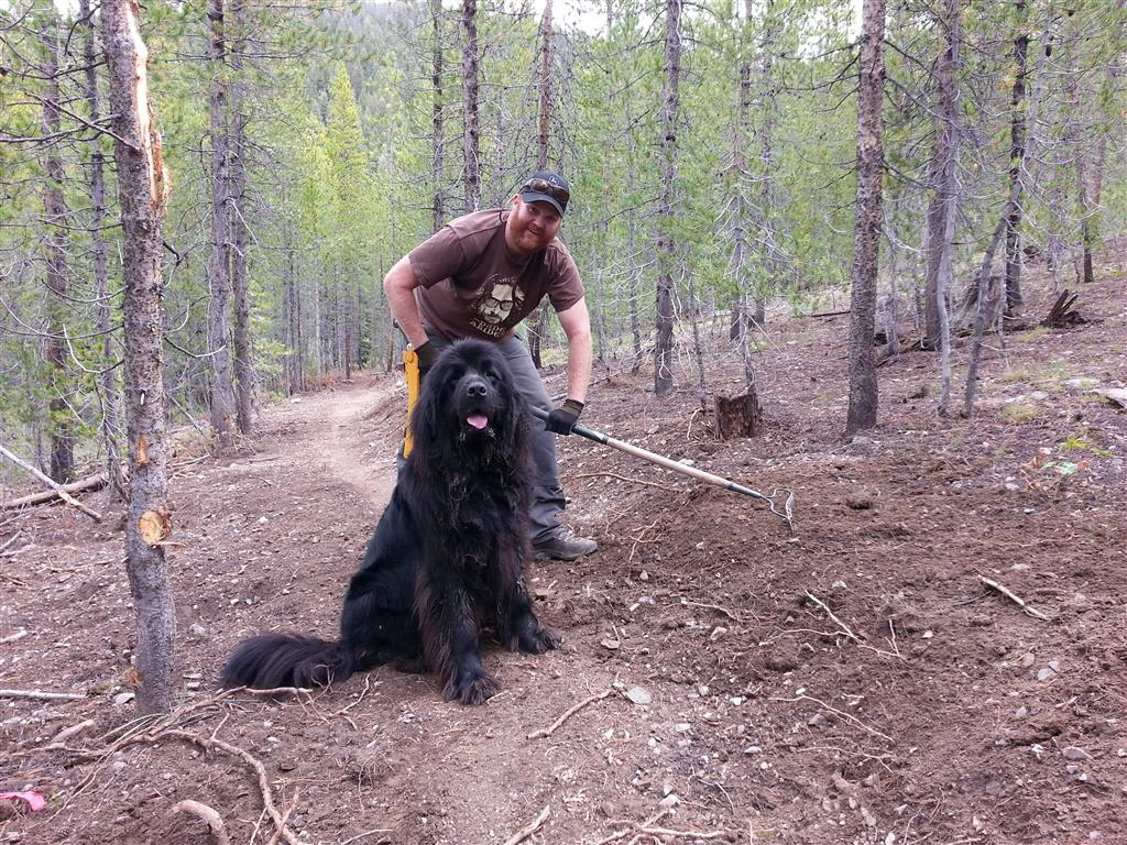 BCRD Trails and Grooming Specialist Eric Thurmond and Neapolitan getting after the hand work