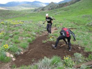 May 2008 volunteer work night on #321 Trail hosted by The Elephants Perch and Big Wood Backcountry Trails.