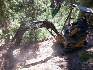 Building new trail at Galena with a mini-excavator.