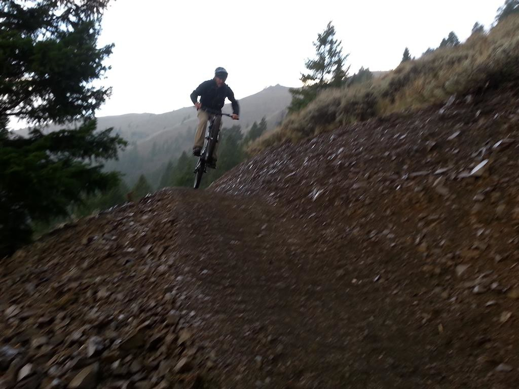 IMBA Trail Specialist Jason Wells testing out the Lupine Trail - Fall, 2014.