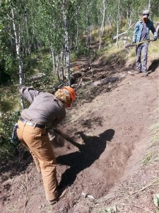 Idaho Conservation Corp and KRD tackling tread on Choc. Gulch Tr.