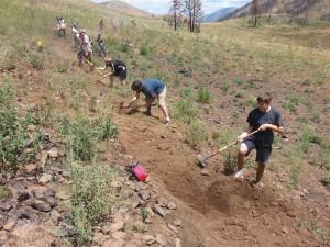 Volunteers rebuilding fire damaged Imperial Trail.