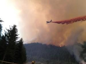 Fire fighters battle the blaze.