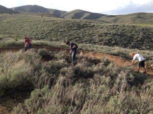 Volunteers working on Hidden Valley Trail. April, 2016