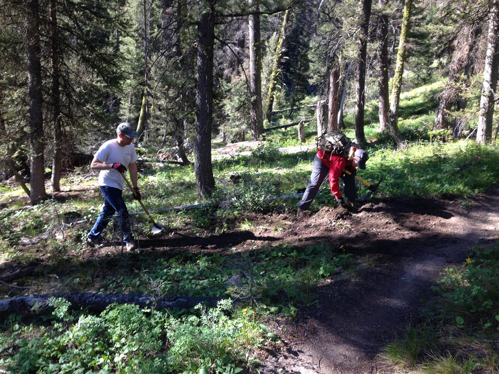 FBO vols cleaning drains in early June on Oregon Gulch Trail.