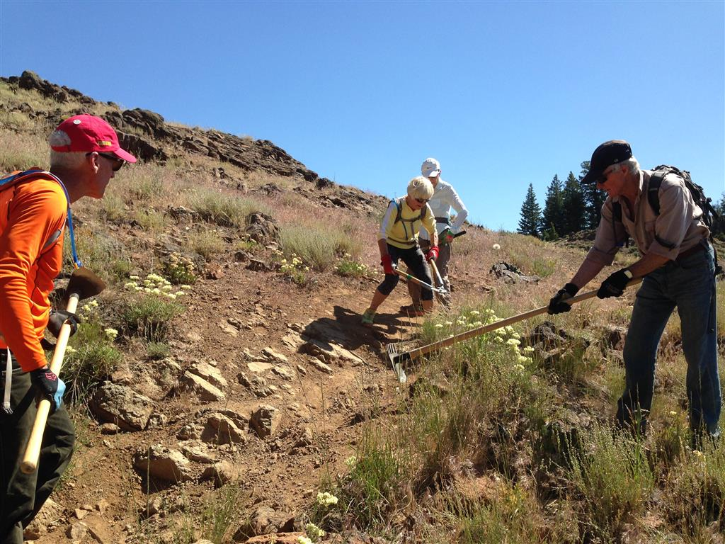 Bud, Jenny, June, and Nello at work on the Chocolate Gulch Trail.